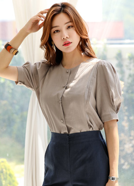 Puff Sleeve Button-Up Blouse, Styleonme