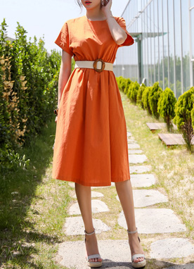 Summer Color Linen-blend Flared Dress, Styleonme