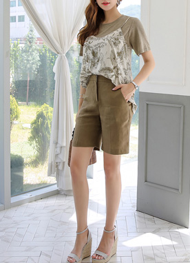 Linen High-Waisted Shorts, Styleonme