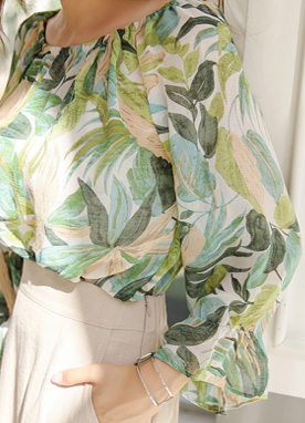 Tropical Print Off-Shoulder Blouse, Styleonme