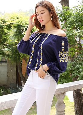 Ethnic Print 2way Shirred Blouse, Styleonme