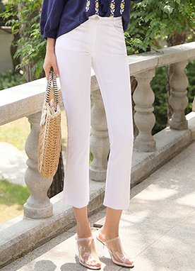 Slim Boot-Cut Capri Pants, Styleonme