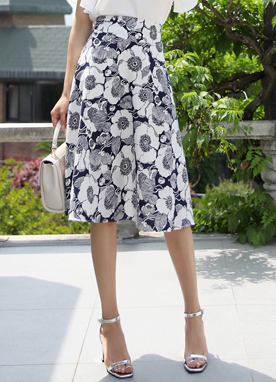 Floral Sketch Print Flared Skirt, Styleonme