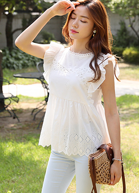 Crochet Lace Frill Sleeve Blouse, Styleonme