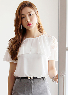 See-through Lace Detail Ruffle Blouse, Styleonme