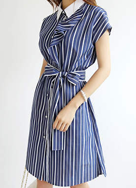 Pinstripe Pearl Button Colllared Dress, Styleonme
