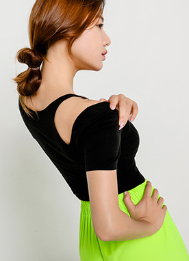 Shoulder Cut-Out Soft Tee, Styleonme