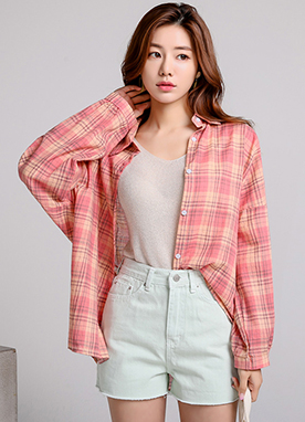 Check Print Drop Shoulder Collared Shirt, Styleonme