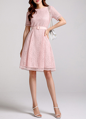Lace Short Sleeve Flared Dress, Styleonme