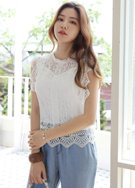 Lace Scallop Trim Sleeveless Top, Styleonme