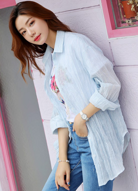 2way Wrinkled Summer Collared Shirt, Styleonme