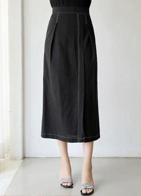 Stitch Detail Front Slit Long Skirt, Styleonme