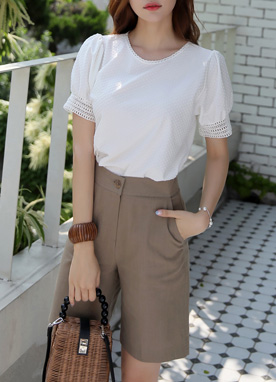Wide Leg Linen Short Slacks, Styleonme