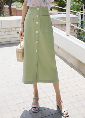 Button-Up Front Vent Linen Skirt, Styleonme
