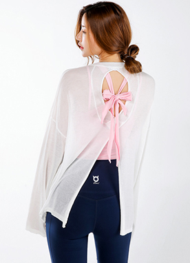 Sheer Back Cut-Out Knit Tee, Styleonme