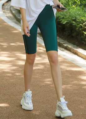 Double Line Sporty Biker Shorts, Styleonme