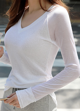 See-through Sleeve Slim V-Neck Tee, Styleonme