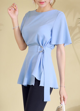 Angel Sleeve Belt Strap Blouse, Styleonme