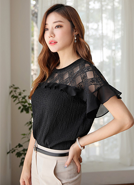 See-through Waffle Lace Frill Sleeve Blouse, Styleonme