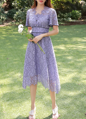 Purple Floral Lace Dress, Styleonme