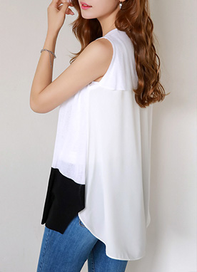 Chiffon Detail Sleeveless Long Knit Top, Styleonme