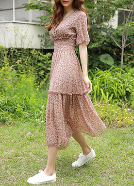 Floral Print Smocked Maxi Dress, Styleonme