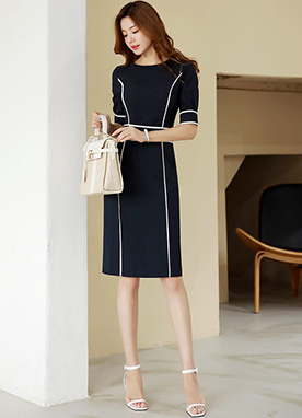 Contrast Line Slim Fit Dress, Styleonme