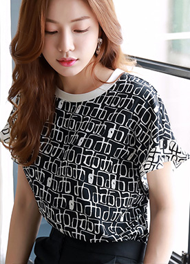 Square Patterned Blouse Tee, Styleonme