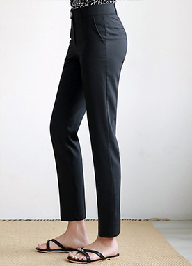 Slim Fit Rayon-Blend Slacks, Styleonme
