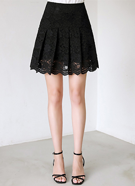 Feminine Lace Pleated Skort, Styleonme