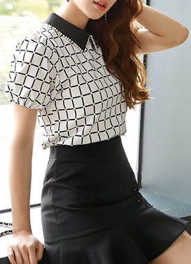 Check Print Pearl Collared Blouse, Styleonme