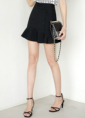 Side Button Ruffle Skort, Styleonme