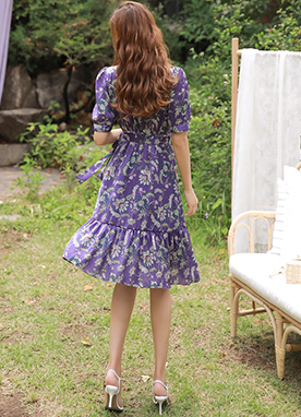 Purple Floral Print Wrap Style Flared Dress, Styleonme