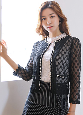 Diamond Motif Lace Cardigan Jacket, Styleonme