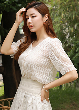 Pearl Button Puff Sleeve Lace Blouse, Styleonme