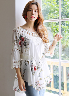 Ethnic Knit Lace Rose Print Shirred Blouse, Styleonme