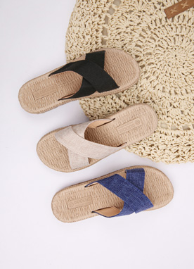 Linen Cross Strap Slippers, Styleonme