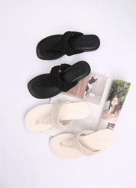 Knitted Thong Sandals, Styleonme
