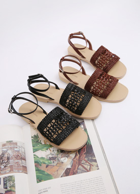 Knitted Strap Sandals, Styleonme