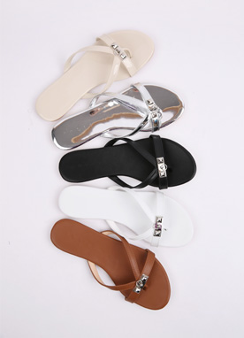 Silver Buckle Cross Strap Slippers, Styleonme