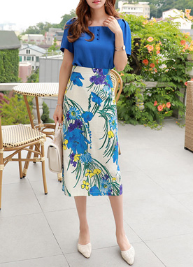 Floral Print Linen-Blend Long Skirt, Styleonme