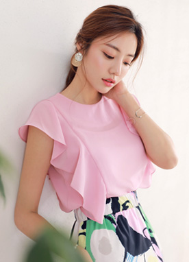 Ruffle Shoulder Blouse, Styleonme