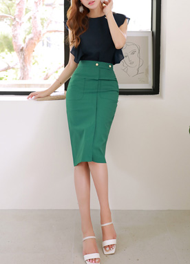 Gold Button-Up Pencil Skirt, Styleonme