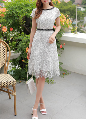 Drop Shoulder Floral Lace Dress, Styleonme
