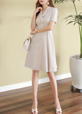 Double-Breasted Notch Lapel Collar Dress, Styleonme