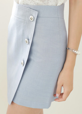 Silver Button Wrap Style Skort, Styleonme