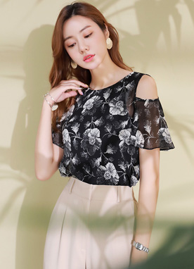 Floral Print Cold Shoulder Blouse, Styleonme