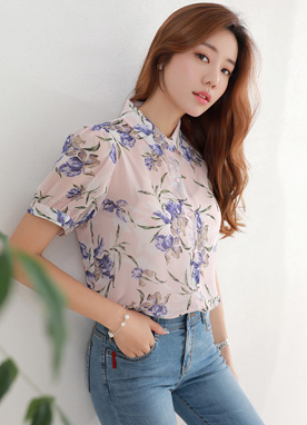 Floral Print Chiffon Collared Blouse, Styleonme