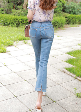 Back Slit Boot-Cut Jeans, Styleonme