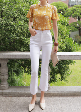 Cotton Boot-Cut Pants, Styleonme